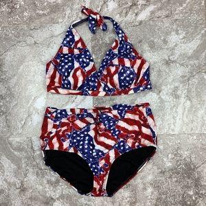 Swimsuits for All American Flag Bikini High Waist